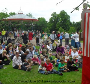 Crowd waiting for Punch and Judy