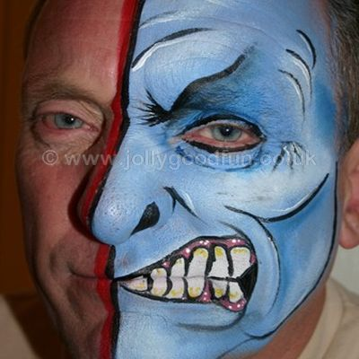 Adult face painting, half face design by Hazel