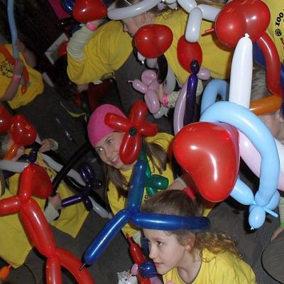 Children at a balloon modelling workshop
