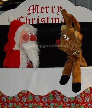 Santa and Rudolph puppets