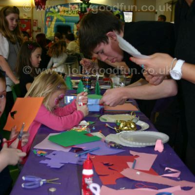 Children at a balloon craft workshop