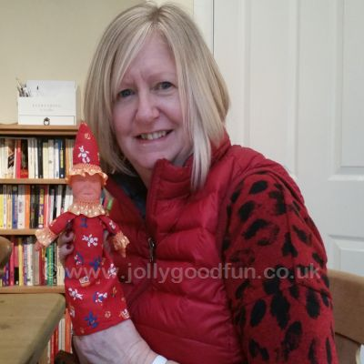 Hazel with baby puppet