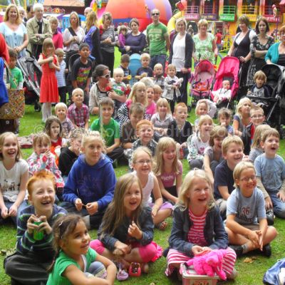 Children watch Punch and Judy at Ripon, North Yorkshire