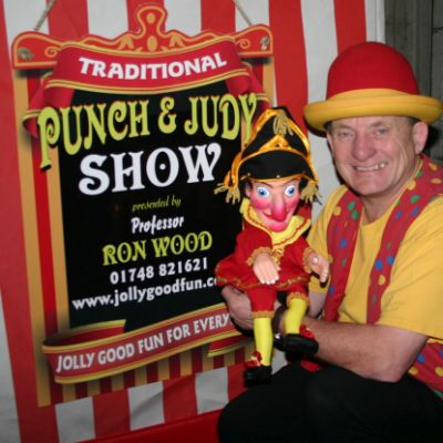 Prof Ron Wood holding his favorite Mr Punch puppet
