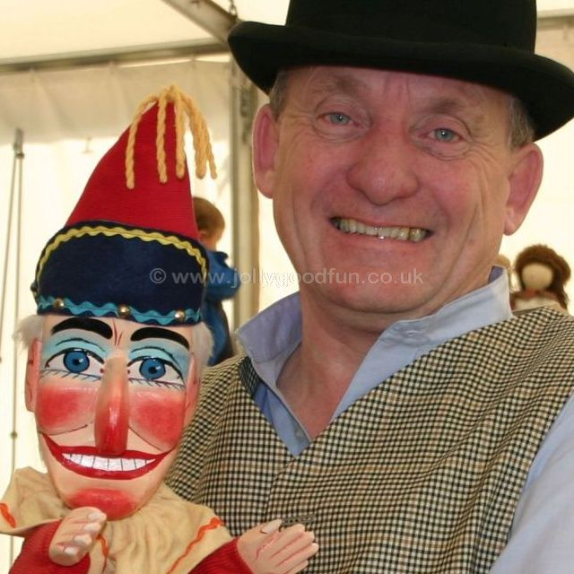 Prof Ron Wood with Mr Punch at Beamish Museum, County Durham